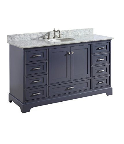Harper 60-inch Single Bathroom Vanity (Carrara/Charcoal Gray): Includes Authentic Italian Carrara Marble Countertop, Charcoal Gray Cabinet with Soft Close Function, and White Ceramic Sink
