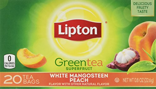 Lipton Green Tea Bags, Superfruit, White Mangosteen & Peach, 20 ct