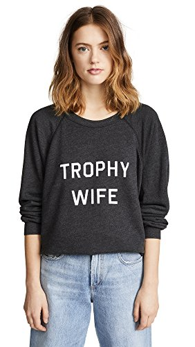 Wildfox Women's Trophy Wife Sweatshirt, Clean Black, Large (Wife Trophy Sweatshirt)