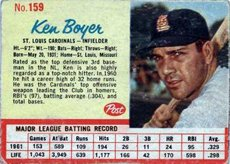 1962 post cereal (Baseball) card#159 Ken Boyer of the St. Louis Cardinals Grade Fair/Poor ()