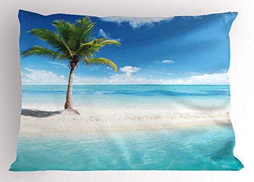 (Ambesonne Ocean Pillow Sham, Idyllic Scenery Seashore Picture Sunlights View with Palm Tree Tropical Beach, Decorative Standard Size Printed Pillowcase, 26 X 20 Inches, Aqua White)