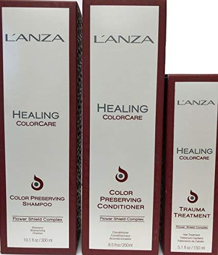 3 Packs Healing Colorcare Color Preserving Shampoo 10.1 Oz Conditioner 8.5 Oz Trauma Treatment 5.1 - Healing Shampoo Color Care Lanza