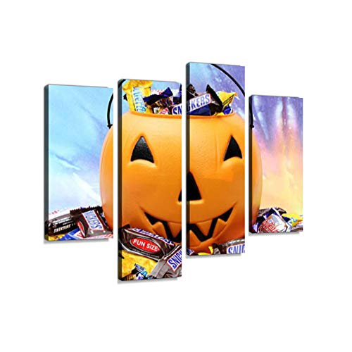Halloween Pumpkin with Trick or Treat Candy.Canvas Wall Art Hanging Paintings Modern Artwork Abstract Picture Prints Home Decoration Gift Unique Designed Framed 4 Panel -