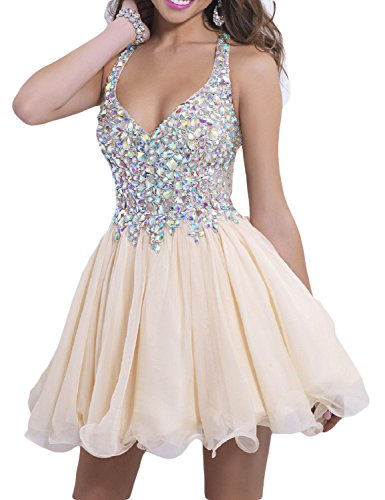 28ad0627a6a LMBRIDAL Women s Beading A Line Homecoming Dress Chiffon Halter Prom Gowns  Champagne 2