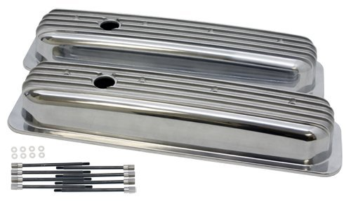 - 1987-97 Chevy 5.0L & 5.7L Short Polished Aluminum Center Bolt Valve Covers - Finned