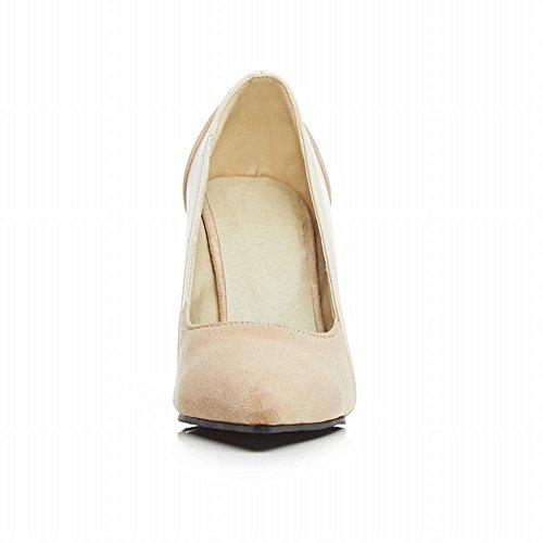 Charme Pied Femmes Mode Haute Talon Bout Pointu Pompes Chaussures Beige