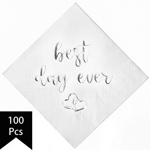 Crisky Best Day Ever Napkins Silver for Wedding Bridal Shower and Engagement Party Decorations,Cocktail Dessert Beverage Napkins 100 Pack, 3-ply
