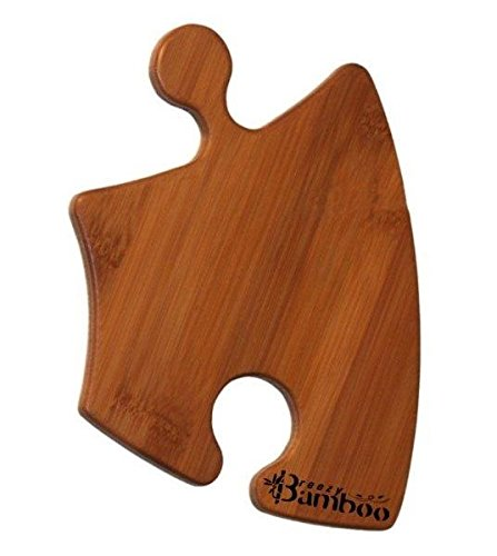 (Bamboo Appetizer Plate or Cutting Board - Add 4 to Your Cart and 1 is FREE! - Curved Puzzle Piece Holds Hors d'Oeuvres and Wine Glass for a Touch of Whimsey!)