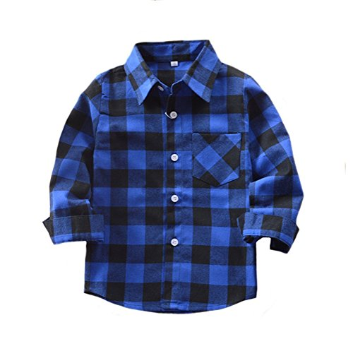 Yober Baby Boys Girls Button Down Plaid Flannel Long Sleeve Shirt(Blue Black, 4T)