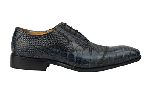 Da uomo in vera pelle effetto serpente, con lacci BLU Oxford Smart Dress 6,5 7 8 9 10 11 11,5