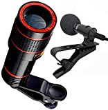 Starford 12X Mobile Optical Lens Blur Background Effect Telescope HD Kit with DSLR Adjustable Focus HD Pictures & YouTube Mic Lapel lavaliere Clip Microphone for Voice Recording Microphone for Laptop