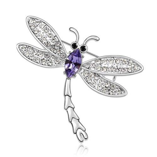 Swarovski Crystal Dragonfly Brooch - Latigerf Dragonfly Brooch White Gold Plated Swarovski Elements Crystal Purple