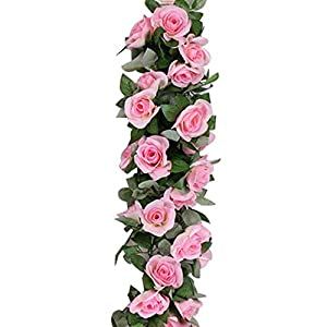 Aolvo 7.5FT/2.3M Artificial Rose Vines Fake Hanging Garland Silk Flowers Rose Vine Garland Fake Vines with 9 Flowers for Wedding Home Office Arch Arrangement Decoration - 1 PCS 24