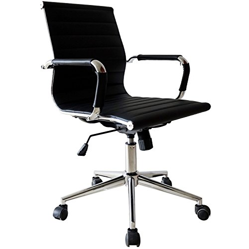 Best Price 2xhome Set Of Two 2 Black Eames Modern Mid Back Ribbed PU