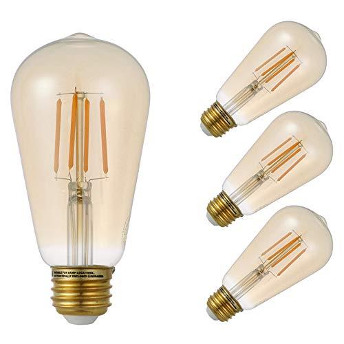 GMY Lighting Led Light Bulb Filament Edison Vintage Style 4.5W Equivalent to 35W Amber Glass ST19 120V E26 2200K Warm White (4 Pack)