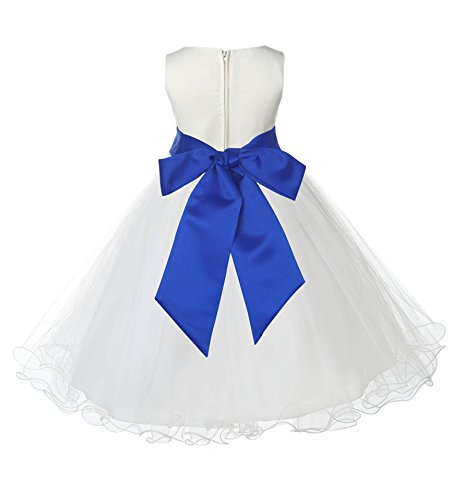 New Colors Wedding Pageant Ivory Flower Girl Rattail Edge Tulle Flower Girl Dress 829s