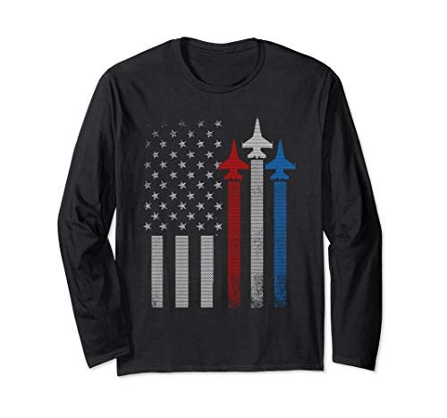 Air Force Long Sleeve T-shirt - Red White Blue Air Force Flyover Proud American Patriotic Long Sleeve T-Shirt