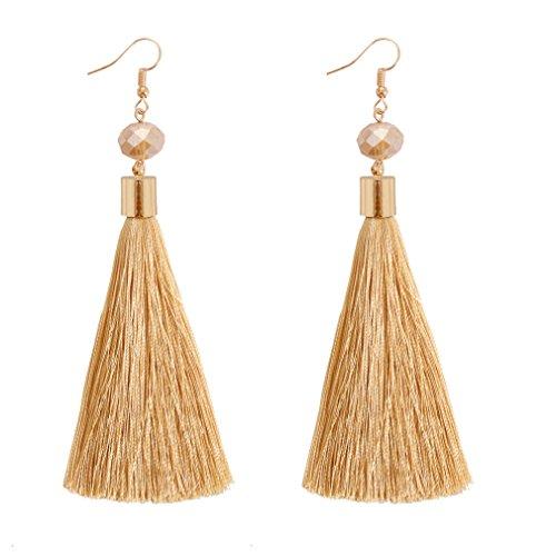 NLCAC Women Thread Tassel Dangle Earrings Silk Fringe Thread Drop Earrings for Parties (champagne) ()
