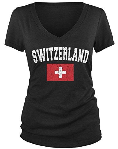 Amdesco Junior's Flag of Switzerland, Home Swiss Flag V-Neck T-Shirt, Black Large