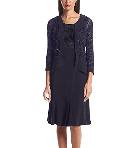 RM Richards Womens Ruffled Trim Lace Jacket Mother of The Bride Dress (16, Navy)