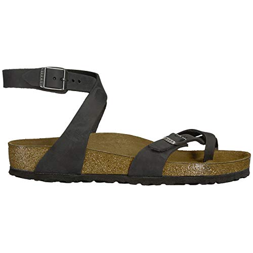 Birkenstock Yara Sandals, Black Oiled Leather, EU 37 / US Womens 6-6.5 M