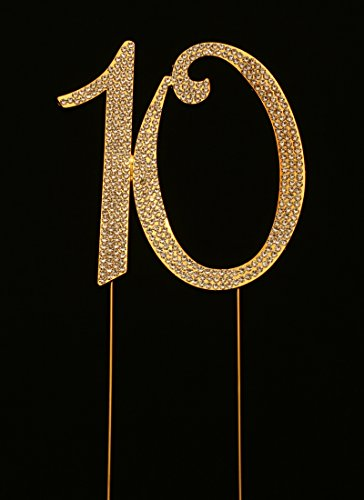 Numbrer 10 for 10th Birthday or Anniversary Cake Topper Party Decoration Supplies, Gold, 4.5 Inches Tall