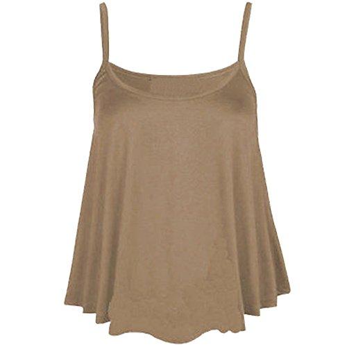 Femmes Uni Swing Cami À Bretelles Évasé Débardeur Sans Manche Haut Grande Taille - Moka, Femme, S/M 36-38