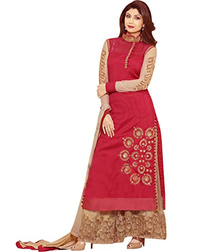 (Shilpa Shetty Red Georgette Palazzo Churidar)