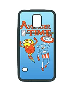Adventure Time Avengers Iron Man Crossover Pattern RUBBER Soft Protective Back Case Cover Skin For Samsung Galaxy S5 i9600 , S5 Black Case