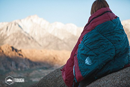 "Mummy Sleeping Bag with Compression Sack - Winter Sleeping Bag for Camping, Hiking, Backpacking & Travel - Waterproof, Compact and Ultralight Cold Weather Sleeping Sack for Adults up to 6'6 2 REST ASSURED. Immerse in a multitude of stars in the night sky! Then rest where you hear nothing but the winter wind. Now that's a 5 (billion or more!) star accommodation. Finally, get lost in a warmth that will leave you sleeping way past your alarm clock. Be warned though, the snooze button will be ignored with this sleeping bag... and waking up at lunch. FIT FOR A KING. Pharaohs boast of grand things. Look no further than the pyramids. Don't believe us? Let's not forget those big and tall coffins they fill when Osiris calls them. However, with this mummy sleeping bag, you get 6'6 ""fit for a king"" size. *Ceremonial wrapping cloth not included, of course*. Go ahead, sleep (and wake up) like royalty. YOU'VE BEEN ""WARMED"". This bag is perfect for 3 season camping with a temperature rating of 40-65F."