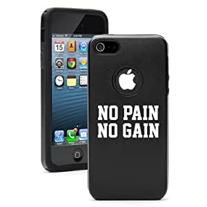 Apple iPhone 5 5S Black 5D5356 Aluminum & Silicone Case Cover No Pain No Gain