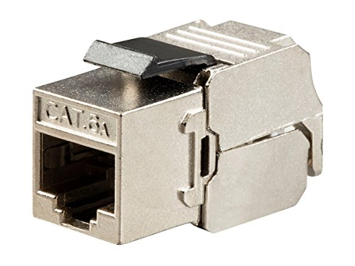 Monoprice Cat6A RJ-45 180-Degree Shielded Die Cast Keystone, Slim Type, Black (Rj 45 8p8c Keystone)