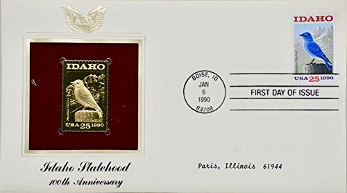 1990 - Jan 6 - PCS - Idaho Statehood 25 cent Stamp - 100th Anniversary - 22kt Gold Replica - First Day Issue - Rare