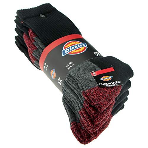 Cushio-Crew Work Socks, Black / Red, 5Pairs, Type: DCK-00008