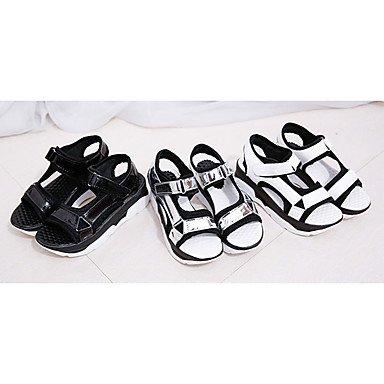 LvYuan Mujer-Tacón Plano-Confort-Sandalias-Vestido Informal-PU-Negro Blanco Plata White