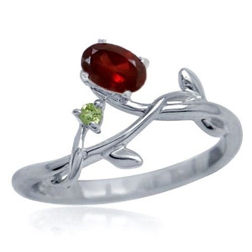 Natural Garnet & Peridot 925 Sterling Silver Vine Leaf Ring Size 7.5 -