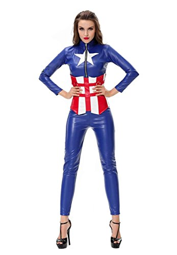 LOSTSS Women's Upscale Leather PU Future Soldier Captain America (Plus Size Captain America Costumes)