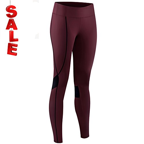 NOOYME (New Gear for Springs) Women's Athletic Running Workout Pants Cycling Tights (M, Burgundy-black) by NOOYME