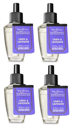 (Bath and Body Works 4 Pack Linen and Lavender Wallflowers Fragrance Refill. 0.8 fl)