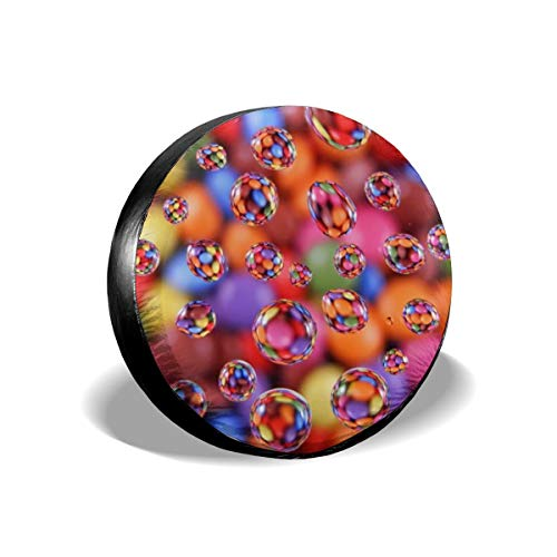 Uktly Waterproof Spare Tire Cover Colorful Circle Universal Sun Protector Dust - Proof Wheel Covers for Jeep, Trailer, RV, SUV, Truck and Other Vehicle, Fits 24