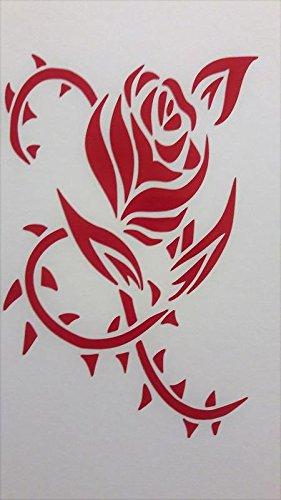 Rose Roses Flower Vinyl Decal Sticker|RED|Cars Trucks Vans SUV Laptops Wall Art|5.5