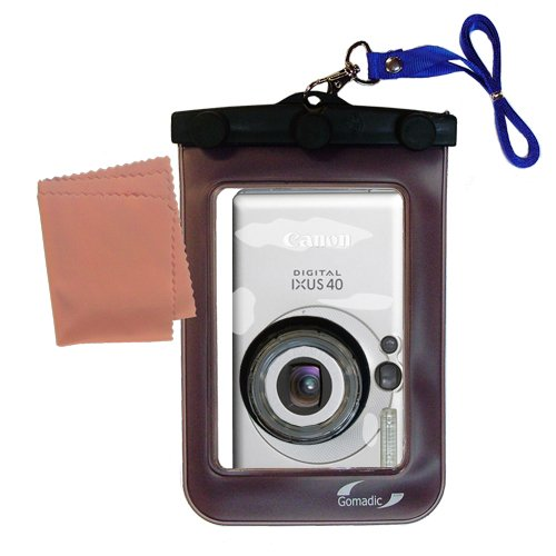 Gomadic Waterproof Camera Protective Bag suitable for the Canon IXY Digital 40 - Unique Floating Design Keeps Camera Clean and Dry by Gomadic