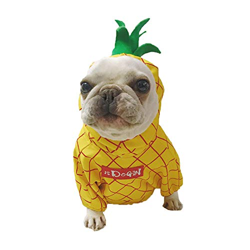 Amakunft Pineapple Pet Costume, Halloween Fruit Dog Cosplay Coat for Party Christmas Special Events Costume Cute Hoodie for Pitbull Puppy Jumpsuit Cat Jacket Clothes -