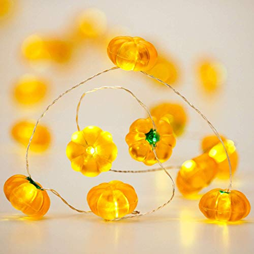 Diy Halloween Mantel Decor (XIWU Pumpkin String Lights,Halloween Lights Decoration Battery Operated,10ft 40 LEDs with Remote & Timer Copper Wire Pumpkin Lights for Fall Thanksgiving Christmas Halloween DIY Home Mantel)