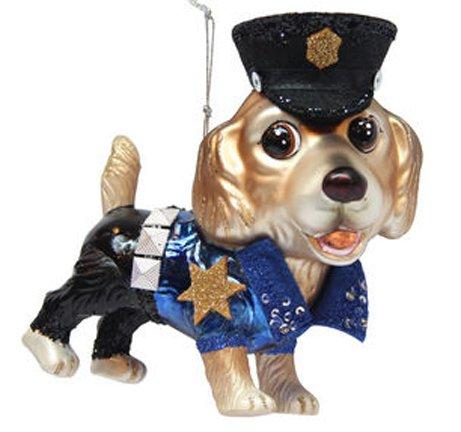 - December Diamonds Blown Glass Ornament - Golden Retriever Policeman