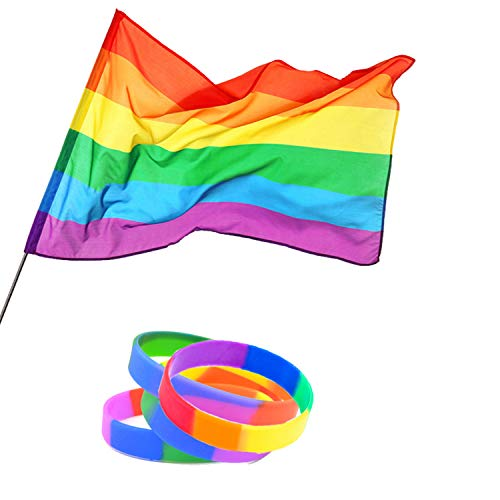 Blosion 3'x5' Rainbow Flag Polyester with Brass Grommets - 4PCS Gay Pride Couple Rainbow Silicone Bracelets Support (1)
