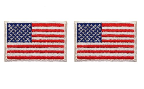 ID #1048 Lot of 2 US USA American Flag Embroidered Iron On Applique Patch (American Flag Patch Cool)