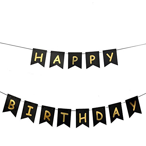 LOLOAJOY Funny 21st 30th 40th 50th Birthday Decorations Black Banner Happy Birthday Premium Quality Party Supplies ()