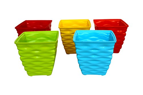 Malhotra Plastic 110003 Plastic Diamond Pot Set (Multicolored, 5-Piece