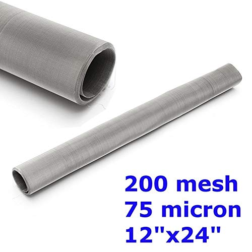 HATCHMATIC 200 Mesh 75 Micron 304 Stainless Steel Filtration Woven Wire Screen Dry Ice Pollen Water Oil Screen Filter 12x24 30cm x 60cm